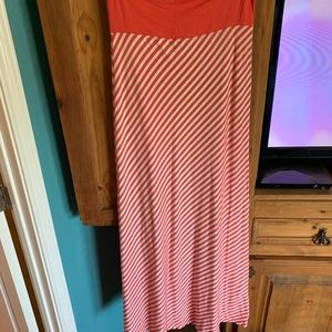 Coral and white striped maxi skirt